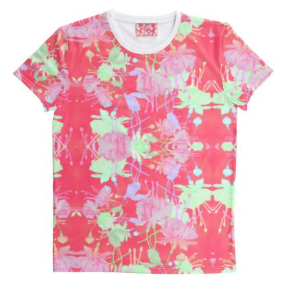 Cut And Sew All Over Print T Shirt Red, Floral  Fuchsias  Hot Pepper