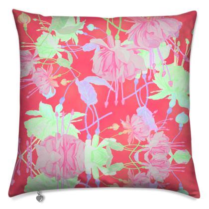 Cushions Red, Floral  Fuchsias  Hot Pepper