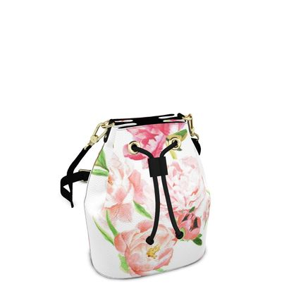 Bucket Bag - Peonies pink and white