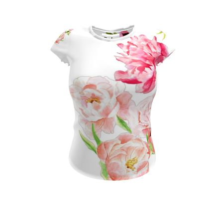 T-Shirt - Peonies pink on white
