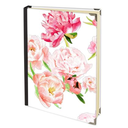 Deluxe Diary - Peonies pink on white