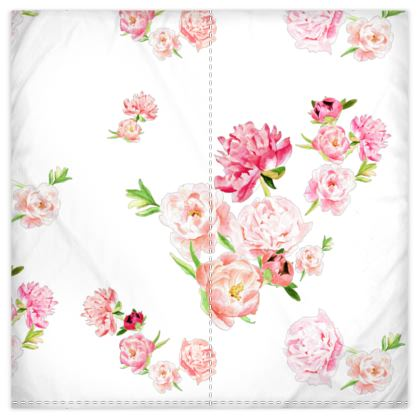 Duver Covers - Peonies pink on white