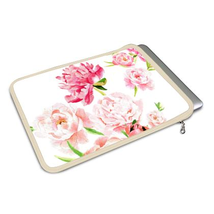 """11"""" & 13"""" laptop cover - Peonies pink on white"""