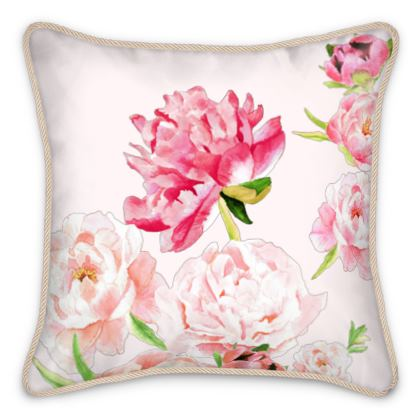 Silk Cushion - Pink Peonies