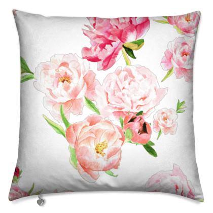 Cushion - Peonies pink on white