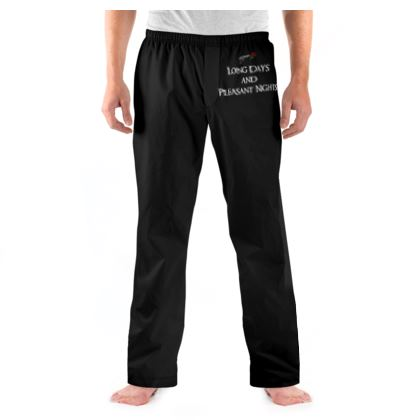Mens Pyjama Bottoms - Long Days and Pleasant Nights (White text)