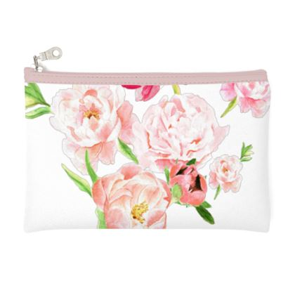 Zip Top Pouch - Peonies pink on white