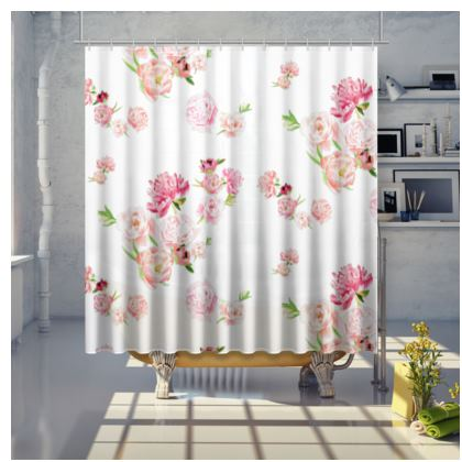 Shower Curtain - Peonies pink on white
