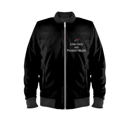 Ladies Bomber Jacket - Long Days and Pleasant Nights (White text)