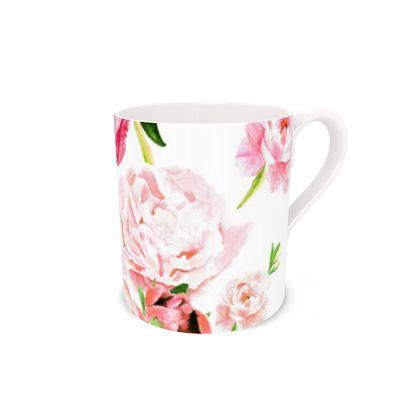Mug - Peonies pink on white