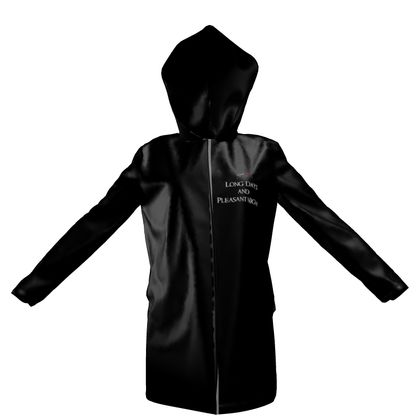 Womens Hooded Rain Mac - Long Days and Pleasant Nights (White text)