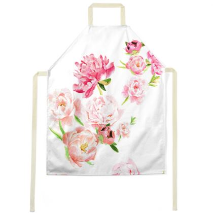 Apron - Peonies pink on white