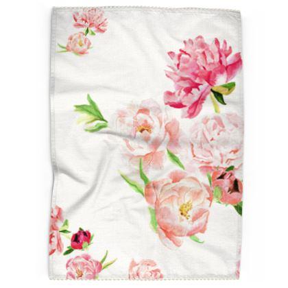 Tea Towel - Peonies pink on white