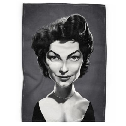 Ava Gardner Celebrity Caricature Tea Towels
