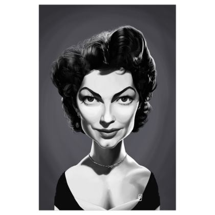 Ava Gardner Celebrity Caricature Art Print