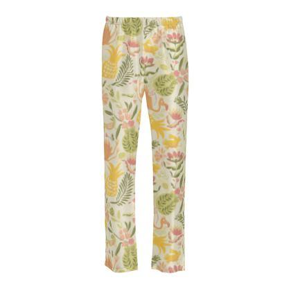 Bas de pyjama Femme en soie tropical jaune vitaminé