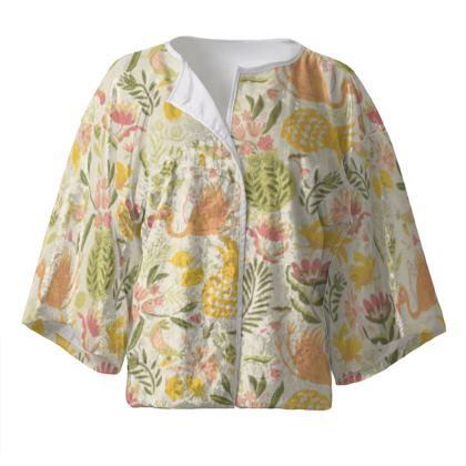 Kimono court pour femme tropical jaune vitaminé