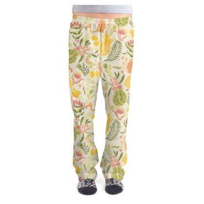 Bas de pyjama femme tropical jaune vitaminé