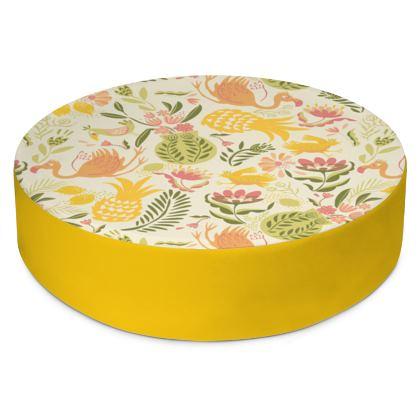 Coussin de sol rond tropical jaune vitaminé bordure jaune