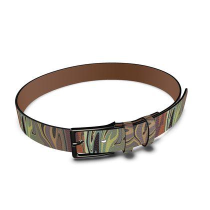 Leather Belt - Marble Rainbow 1