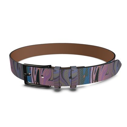 Leather Belt - Marble Rainbow 5