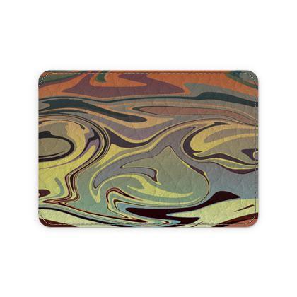 Leather Card Case - Marble Rainbow 1