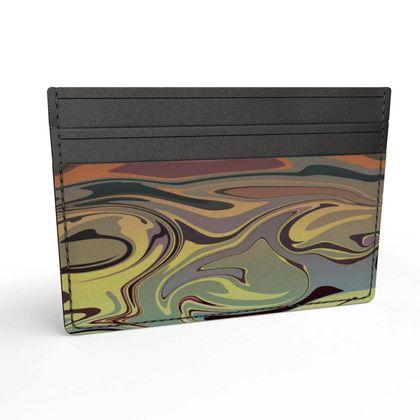 Leather Card Holder - Marble Rainbow 1