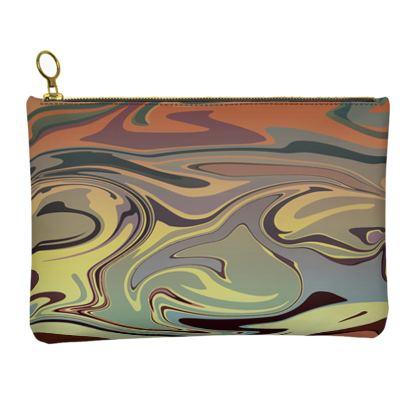 Leather Clutch Bag - Marble Rainbow 1