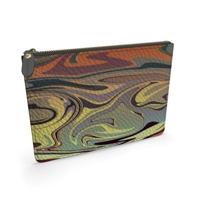 Leather Pouch - Marble Rainbow 1