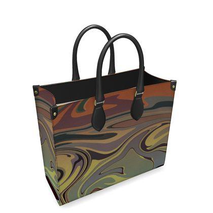 Leather Shopper Bag - Marble Rainbow 1