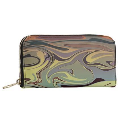 Leather Zip Purse - Marble Rainbow 1