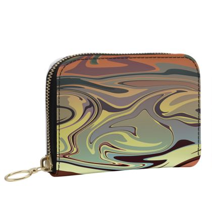 Small Leather Zip Purse - Marble Rainbow 1