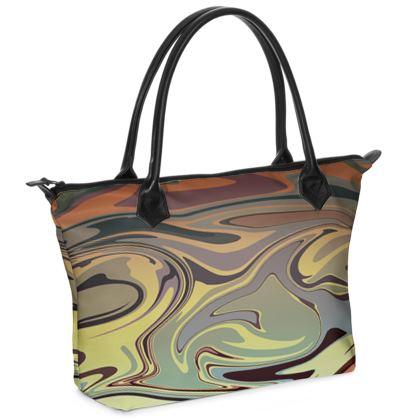 Zip Top Handbag - Marble Rainbow 1