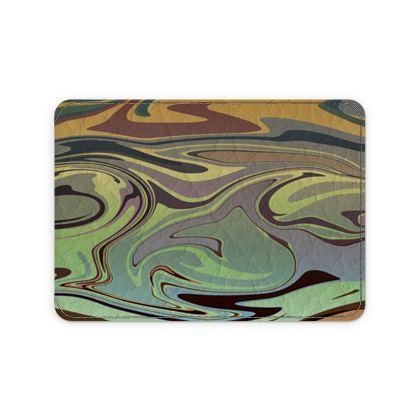 Leather Card Case - Marble Rainbow 2