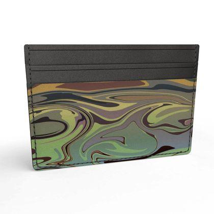 Leather Card Holder - Marble Rainbow 2