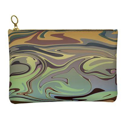 Leather Clutch Bag - Marble Rainbow 2