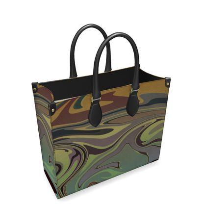 Leather Shopper Bag - Marble Rainbow 2