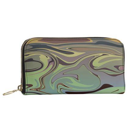 Leather Zip Purse - Marble Rainbow 2