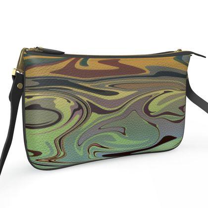 Pochette Double Zip Bag - Marble Rainbow 2