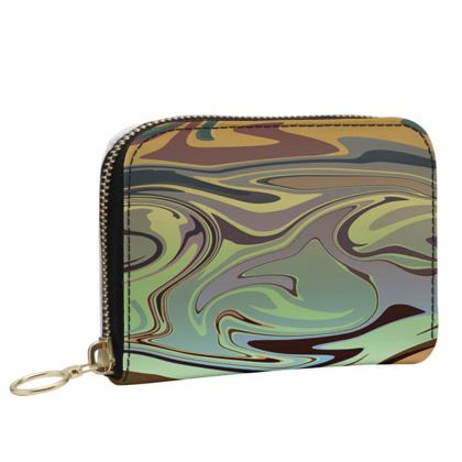 Small Leather Zip Purse - Marble Rainbow 2