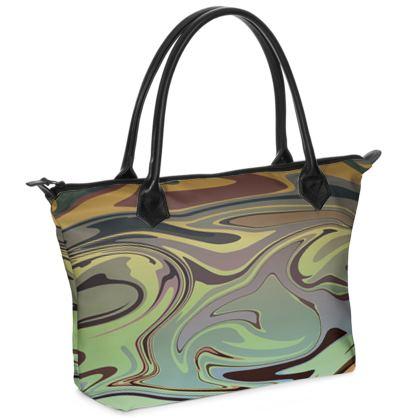 Zip Top Handbag - Marble Rainbow 2