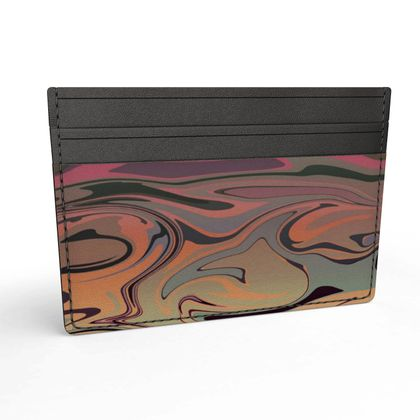 Leather Card Holder - Marble Rainbow 3