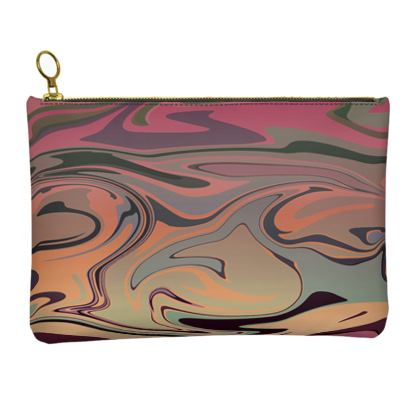 Leather Clutch Bag - Marble Rainbow 3