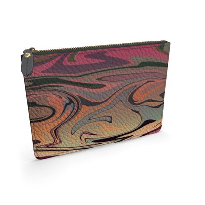 Leather Pouch - Marble Rainbow 3