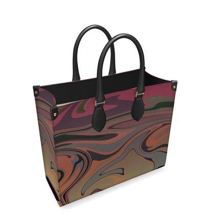 Leather Shopper Bag - Marble Rainbow 3