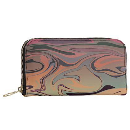 Leather Zip Purse - Marble Rainbow 3