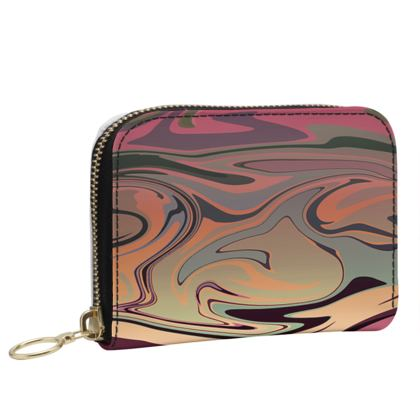Small Leather Zip Purse - Marble Rainbow 3