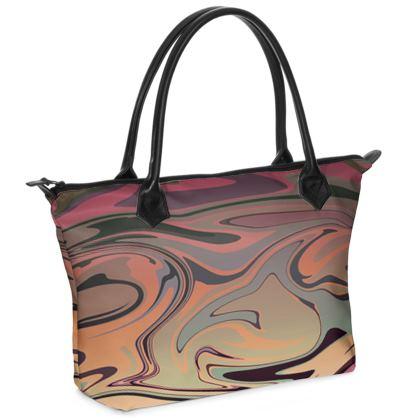Zip Top Handbag - Marble Rainbow 3