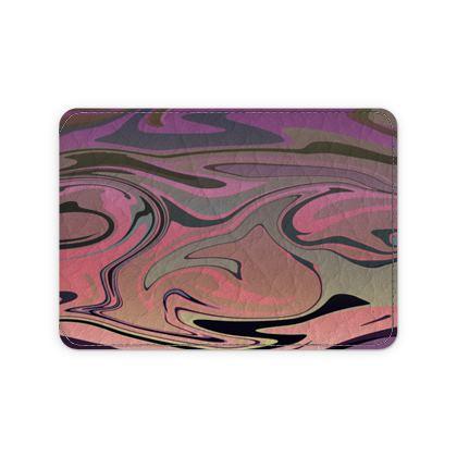 Leather Card Case - Marble Rainbow 4