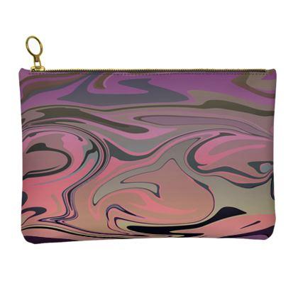 Leather Clutch Bag - Marble Rainbow 4